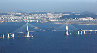 Incheon Bridge under construction