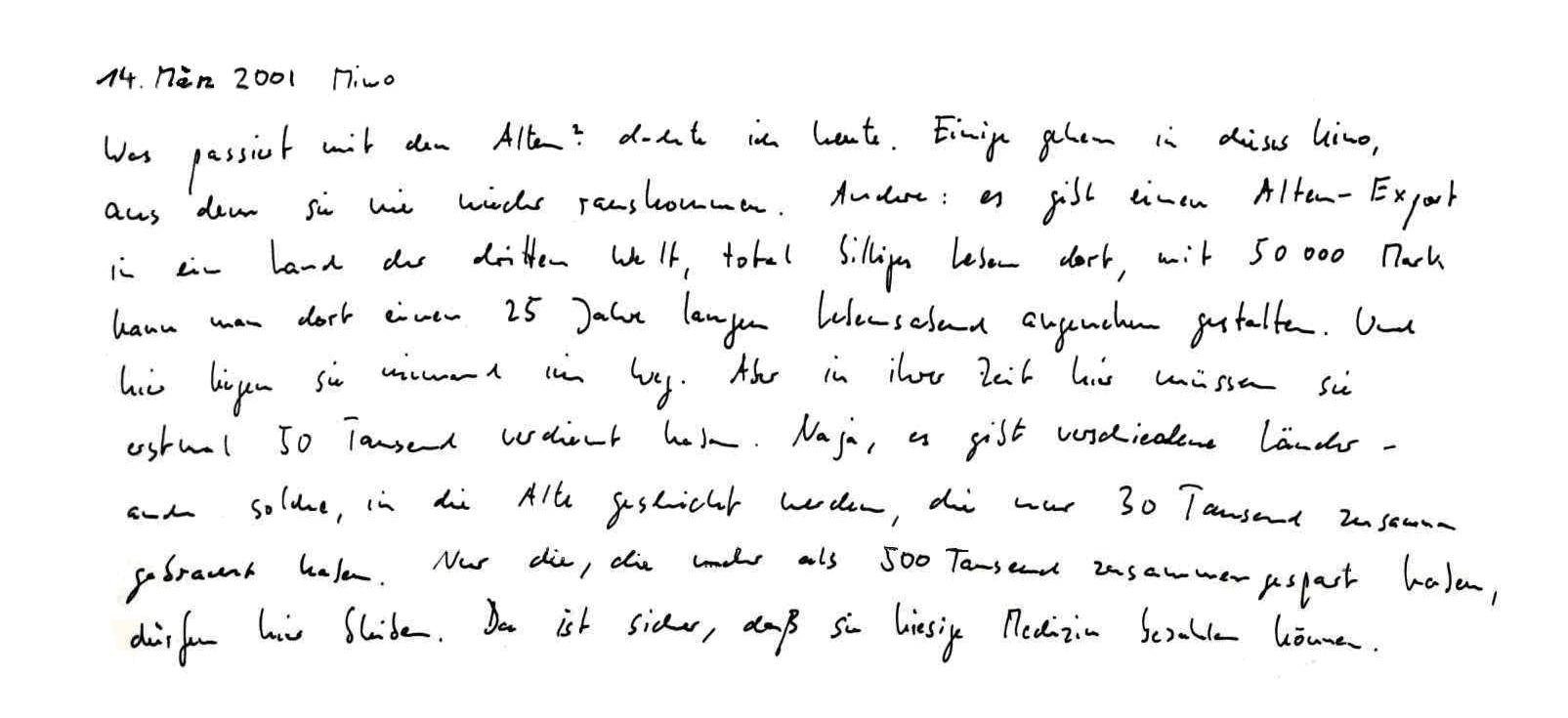 Hermann Bohlen: Skizze 14. März 2001