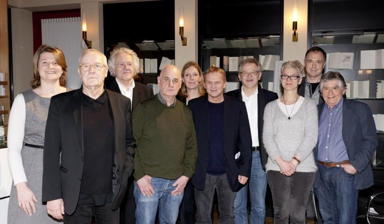 Nathalie Singer (Jury), Walter Adler (Regisseur), Hermann Beil (Jury), Lothar Trolle Autor), Andrea Oetzmann (SWR), Oliver Bukowski (Jury), Ekkehard Skoruppa (SWR), Daniela Ginten (DAddK), Pierre Oser (Komponist), Christoph Buggert (DAddK). Bild: DAddK/ Alexandra Lechner.