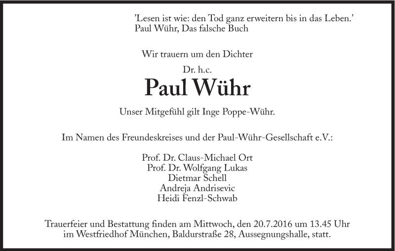 Traueranzeige aus der Süddeutschen Zeitung vom 18.07.2016.