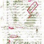 Seite der Partitur der Moon Tapes mit dem Fußabdruck von Neil Armstrong.
