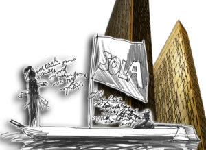 Liquid Penguin Ensemble: Sola, sulan, seul. Zeichnung: Klaus Harth, Foto: sprklg.