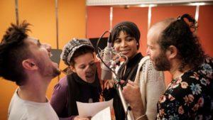 Sheik Khamiis, Christina Meyer, Doris Schmeer,Tomer Gardi. Bild: Fahri Sahin Sarimese/WDR.