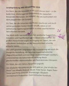 Jurybegründung ARD Hoerspieltage 2018.
