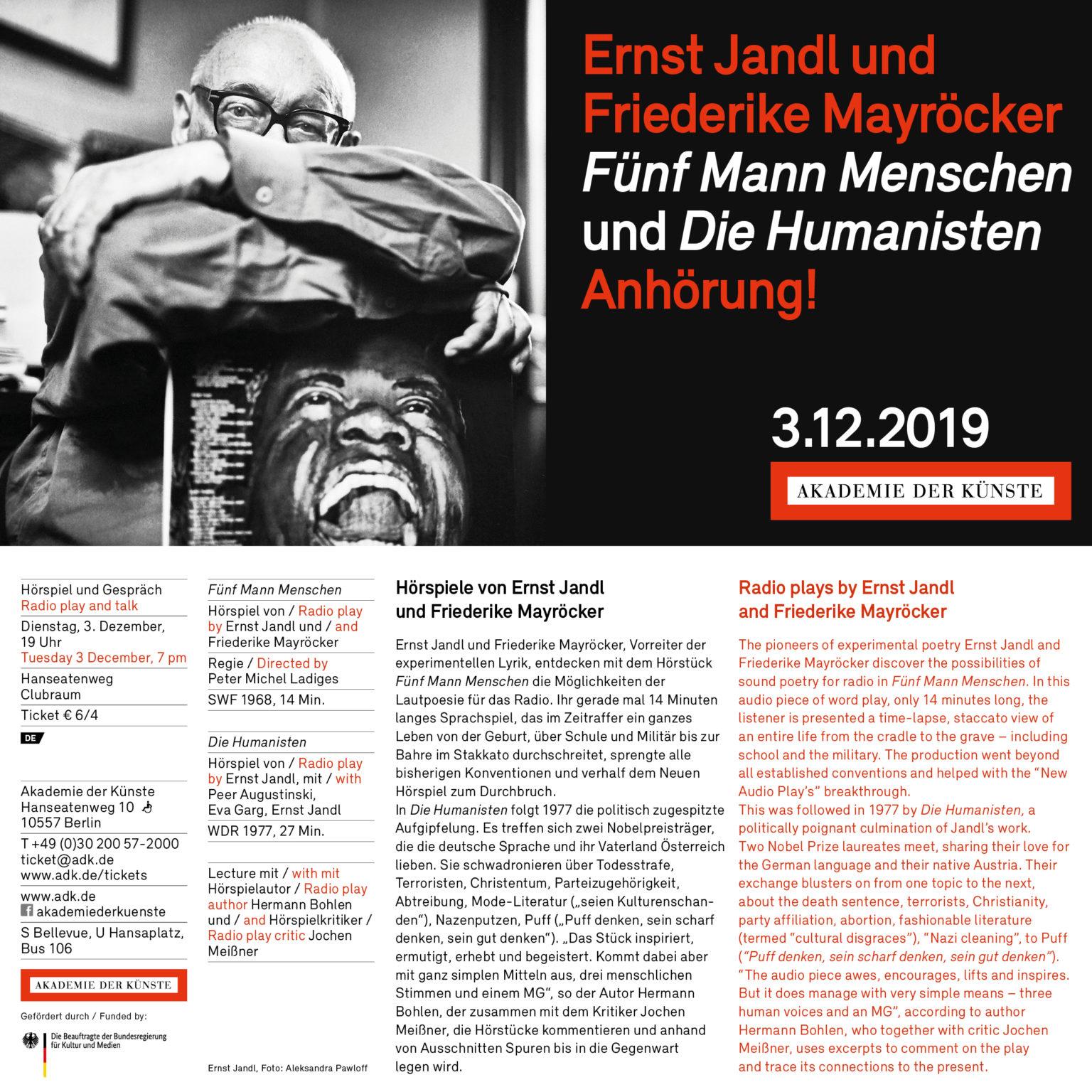 Anhörung! Jandl/Mayröcker