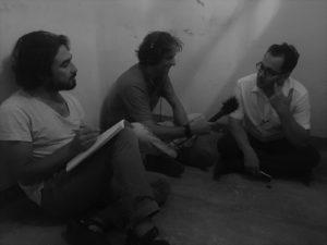 Übersetzer Muhanad Hariri, Autor Jakob Weingartner und der ehemalige Häftling Shapal Ibrahim.